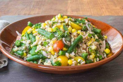 Farro Salad with Green Beans, Corn, and Cherry Tomatoes