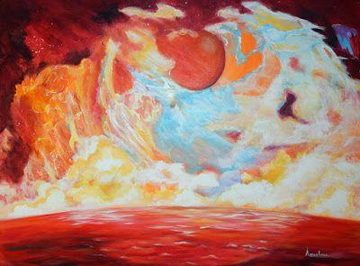 """Contemporary Abstract Seascape Painting """"Mapped Wisdom"""" by International Seascape Artist Arrachme"""