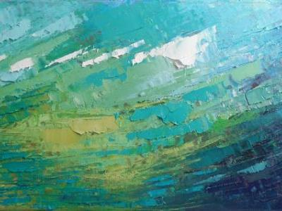 Abstract Sea Painting, Palette Knife Painting, Small Oil Painting, Daily Painting, 8x16x.75