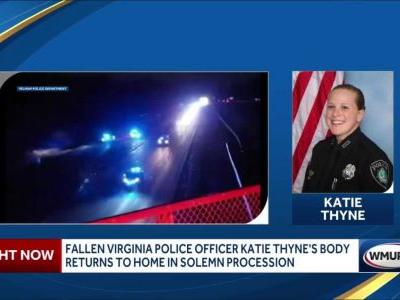 Officers escort body of fallen Virginia police officer home to New England