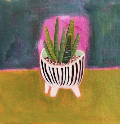"Contemporary Expressionist Still Life Art,Bold Expressive Painting ""Zebra Plant"" by Santa Fe Artist Annie O'Brien Gonzales"