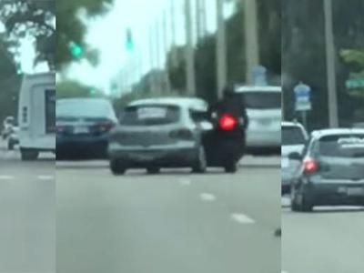 This Road Rage Driver Brutally Runs A Biker Off The Road After A Fight