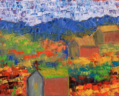 """Original Palette Knife Colorado Landscape Painting """"Old Town"""" by Colorado Impressionist Judith Babcock"""