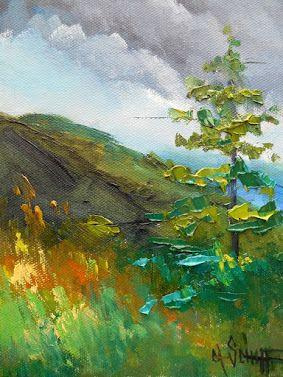 Appalachian Mountain Small Oil Painting, Daily Painting, Palette Knife Landscape, Textured Art, Country Home Wall Decor, 6x8