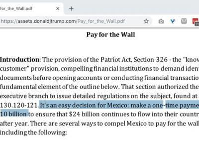Trump campaign Web site contradicts new claim that Mexico will not directly pay for the wall