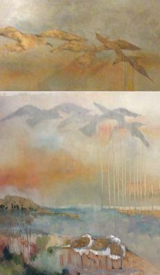 Abstract Landscape Diptych oil, graphite, metallic Painting by Texas Artist M.Allison
