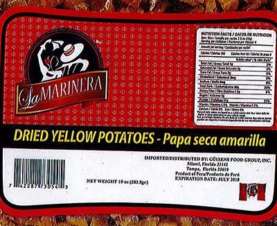 Dried Yellow Potatoes Recalled