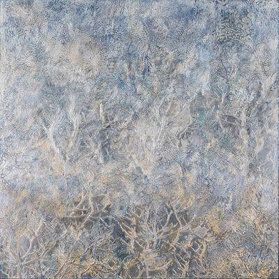 "Contemporary Art, Abstract Painting, Expressionism, Mixed Media, ""SILVER THAW"" by Contemporary Artist Liz Thoresen"