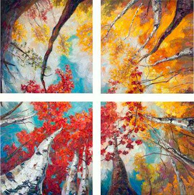 """""""Soaring Dreams"""" Quadriptych Palette Knife Oil Painting by Niki Gulley"""