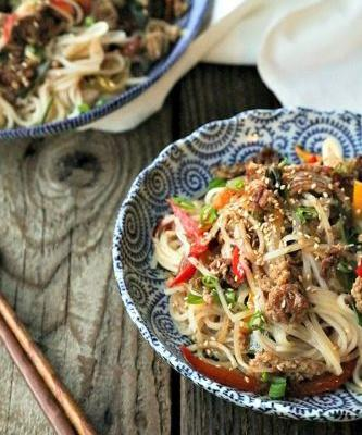 Easy Garlic Ginger Crispy Pork Noodles