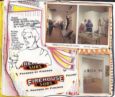 Hanging the show in Escondido - sketchbook journal entry