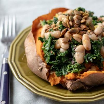 Lemony Kale & White Bean Sweet Potato