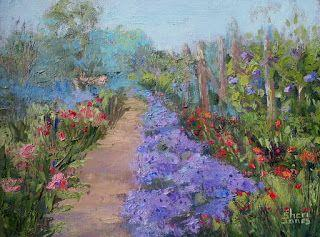 Aster and Company Garden, New Contemporary Landscape Painting by Sheri Jones