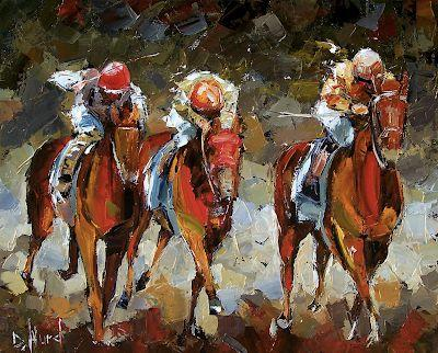 "Horse Race Art Painting Colorful Paintings Oil on Canvas ""Best"" By Debra Hurd"