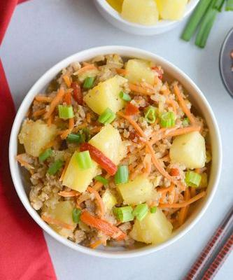 Pineapple Chicken Cauliflower Fried Rice {GF, Paleo, Whole30}