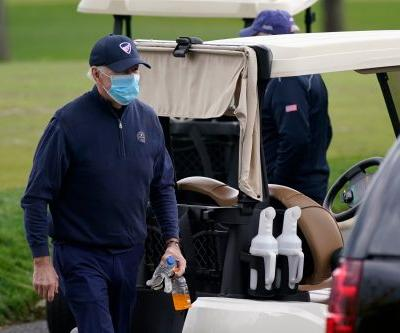 Biden golfed as president for the first time on his 87th day in office. Trump played on his 15th