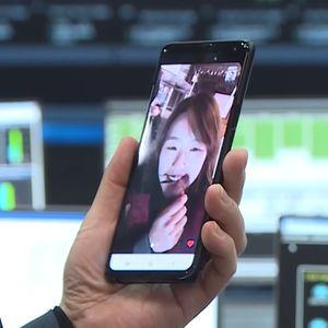 A Samsung device used for the first commercial video call using 5G