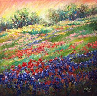 """New """"Visions of Wildflowers III"""" Bluebonnet Painting by Texas Artist Niki Gulley"""