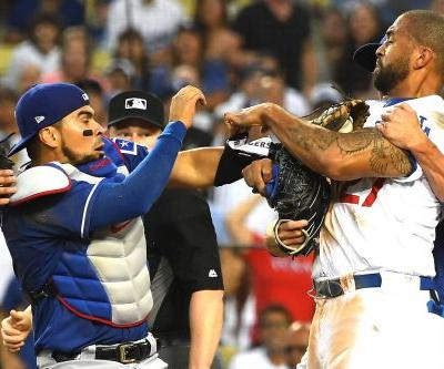 Matt Kemp, Robinson Chirinos ejected after collision at plate