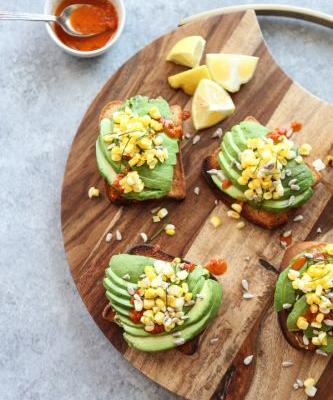 The Best Basic Bitch Avocado Toast with Charred Corn and Chili Sauce