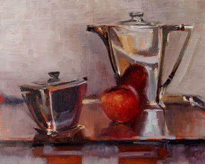 """Art Deco with Apple"" oil. still life painting by Robin Weiss"