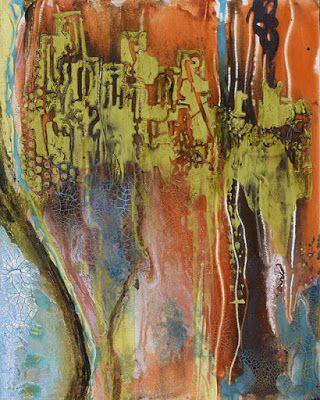 "Contemporary Abstract Mixed Media Painting ""Tuscan Hills"" by Santa Fe Contemporary Artist Sandra Duran Wilson"