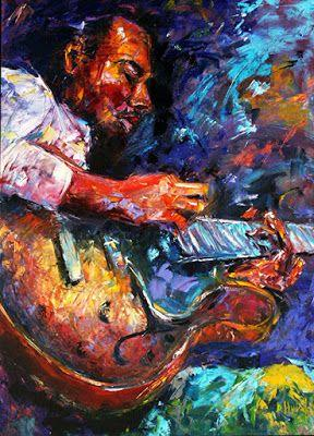 """Abstract Impressionist Musicians Jazz Paintings Music Painting """"Jazzy Guitar Print"""" by Debra Hurd"""