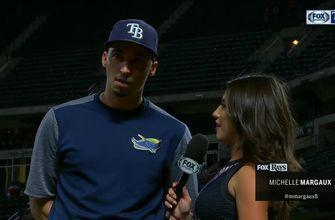 Michelle Margaux speaks with Blake Snell after 20th win of the season