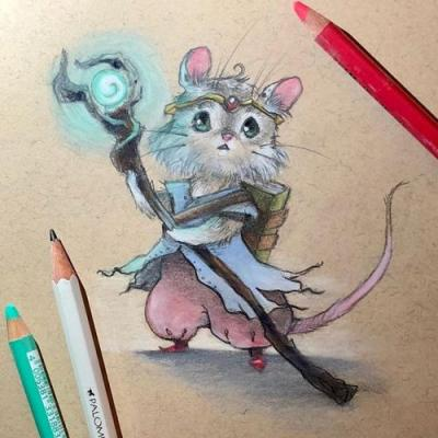 A little magical rodent to brighten your weekend 🐭 sketch sketchbook pastel