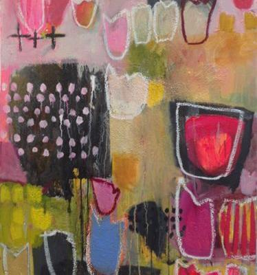 """Bold Expressive Floral Contemporary Expressionist Art Painting, Abstract """"Garden Secrets 2"""" by Santa Fe Artist Annie O'Brien Gonzales"""