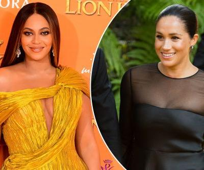 Royal run-in: Meghan Markle and Beyoncé embrace at 'Lion King' premiere
