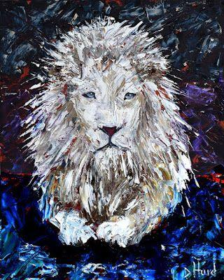 """White Lion Painting Cat Art Albino Lion Paintings Wild Animal Arts """"Snow in the Forest"""" Texas Artist by Debra Hurd"""