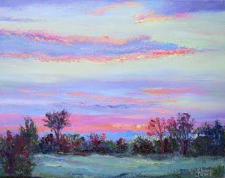 Streaks of Pink, New Contemporary Landscape Painting by Sheri Jones