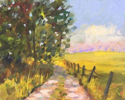 """Country Road,"" Oil Painting Countryside by Amy Whitehouse"