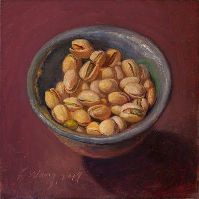 Pistachio in a bowl, still life oil painting daily painting a painting a day daily paintwork small work of art contemporary realism