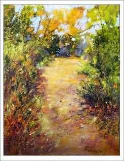 Bush Walk Textures..Pastel..Texas Artist..Rae Andrews