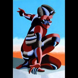 Mark Webster - Bennett 1023 - Abstract Geometric Futurist Figurative Oil Painting