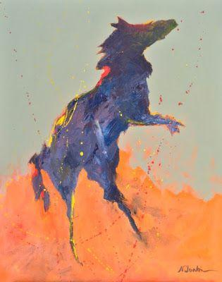 """Contemporary Expressionist Equine Fine Art Painting """"Freedom"""" by Oklahoma Artist Nancy Junkin"""