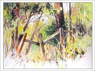 Old Fence..Watercolor..Texas Artist..Rae Andrews
