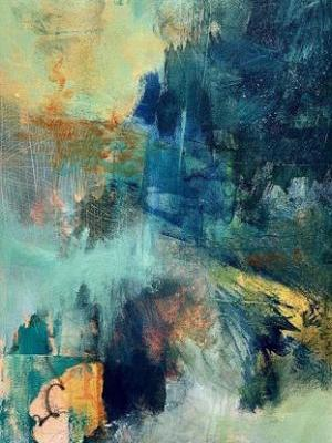 """Expressionism Painting, Abstract Art, Contemporary Art For Sale """"LEAVING THE PATH"""" by Contemporary Artist Liz Thoresen"""