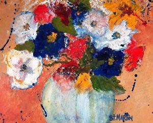 """Abstract Still Life Flower Art Painting """"Flashing Primaries"""" by Florida Impressionism Artist Annie St Martin"""