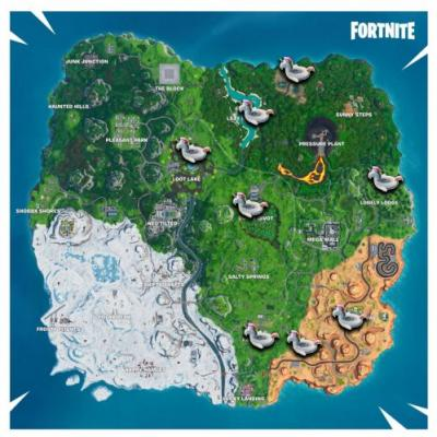 Fortnite Unicorn Locations Map - Where To Search Unicorn Floaties