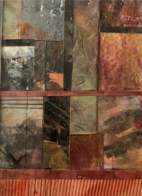 "Contemporary Painting, Mixed Media Art, ""A STUDY IN WARM COLORS"" by Florida Contemporary Artist Mary Ann Ziegler"