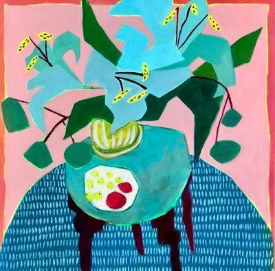 "Contemporary Bold Expressive Still Life Flower Painting ""Blue Lilies"" by Bold Expressive Painter,Santa Fe Artist Annie O'Brien Gonzales"
