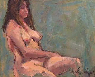 Nude sketch oil on canvas by margaret aycock 8x10