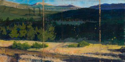 """""""you wandered to know"""" contemporary mountain landscape painting by new mexico artist dawn chandler"""
