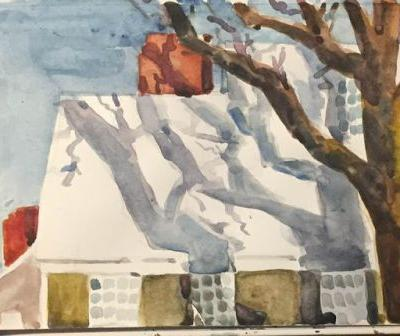 "Day 518 ""Morning Light"" watercolor 5 x 8 - a snowy spring day"