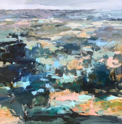"Contemporary Abstract Landscape Art Painting, Fine Art For Sale ""PRAIRIE FROM HERE TO THERE"" by Intuitive Artist Joan Fullerton"