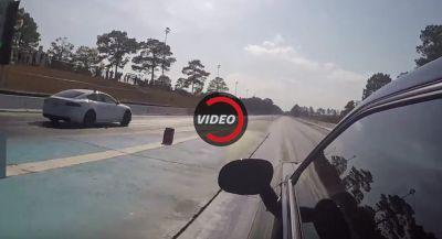Dodge Challenger Hellcat Destroys Its Diff Trying To Race Tesla