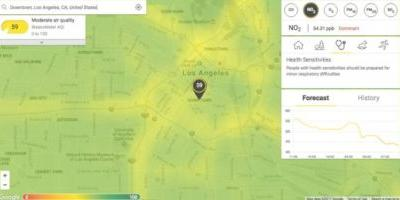 BreezoMeter shows a map of real-time air pollution in big cities